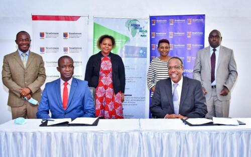 Representatives from AWWL, Strathmore Business School, and WSTF during the MOU signing on 11th June 2021.