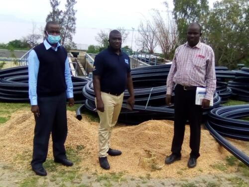 Aduoyo-Kokise Water Supply Project: AWWL MD William Mboya, SIBO MD George Alaka and the Aduoyo-Kikise Project Engineer, Eng. Bernard Owitti on project Site Visit in July 2020.